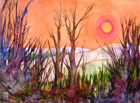 Midwinter Margaret Hamlins Art Portfolio Hamlin Artist Of Vivid Abstract Watercolor Paintings Also Landscapes And Imaginary Realism